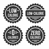 Low Or Zero Calorie Product Label Set On White Background. Vector poster