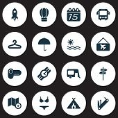 Trip Icons Set With Pointers, Map With Time, Picture Airplane And Other Umbrella Elements. Isolated  poster