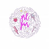 Doodle Motivation Text - Qrl Pwr In Round Form Colored. Cute Fun Vector Motivation Quote With Strawb poster