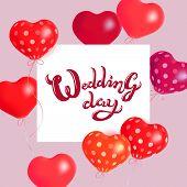 Hearts Air Balloons. Vector Holiday Illustration Of Soaring Balloon Hearts And Paper Banner. Wedding poster
