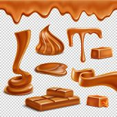 Caramel Toffee Melted Border Drops Puddles Spiral Figures Candies Bar Sweets Realistic Set Transpare poster