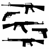 image of sub-machine-gun  - Silhouettes of pistols and submachine gun on a white background - JPG