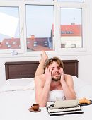Author Drink Coffee Have Breakfast In Bed. Lack Of Inspiration Or Idea. Creativity Crisis. Writer Ti poster