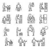 Buyer, Icon Set. Buying Goods, Linear Icons. Line With Editable Stroke. Man In The Market Selects An poster