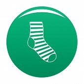 Woman Sock Icon. Simple Illustration Of Woman Sock Vector Icon For Any Design Green poster
