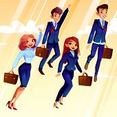 College Students Illustration. University Boys And Girls With School Bags Flying Up With Raised Hand poster