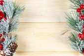 Christmas Concept. Christmas Fir Tree With Decoration On Rustic Vintage Board. Pine Branches. Fir Co poster