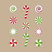 Christmas Peppermint Candy Vector Illustration Collection. Round Red Or Green And White Xmas, Holida poster