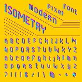 Pixel Isometric Font. 8-bit Symbols. 3d Digital Video Game Style. Letters And Numbers. Vintage Retro poster