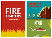 Vector Illustration Cartoon Fire Extinguishing. Set Banner Image. Fire Fighters, Fire On Red Backgro poster
