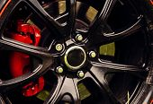 Drift Inspired Styling. Car Wheel Detail. Alloy Wheel. Gloss Black Rim Of Luxury Car Wheel. Wheel An poster
