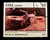 CUBA - CIRCA 1985: A stamp printed in the Cuba shows moonwalker explores the lunar craters, circa 19