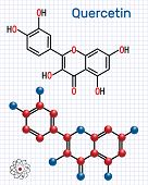 Quercetin ( Flavonoid) Molecule. Structural Chemical Formula And Molecule Model. Sheet Of Paper In A poster