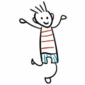 Boy In Shorts And A T-shirt Is Jumping. Style Of Childrens Drawing.  Illustration. Outline Drawing O poster