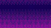 Gradient Halftone Pattern Horizontal Vector Illustration. Pink Dots, Blue Halftone Texture. Bright C poster