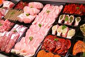 stock photo of trays  - A selection of pork on display in a butchers shop - JPG