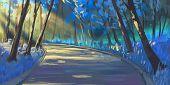 Natural Forest Park. Fiction Backdrop. Concept Art. Realistic Illustration. Video Game Digital Cg Ar poster