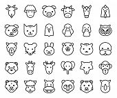 Cute Animal Face Included Farm, Forest And African Animals, Outline Design. poster
