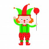 Clown Or Joker With Balloon, Cute Character, Flat Design Professional Concept poster