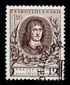 CZECHOSLOVAKIA - CIRCA 1977: A postage stamp printed in Czechoslovakia shows Vaclav Hollar, Czech pa
