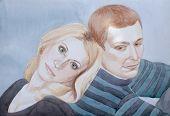 Постер, плакат: акварельный портрет молодой пары