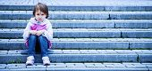 Portrait Of Little Cute Child Girl Expressing Sadness And Loneliness. Gestures, Body Language, Facia poster