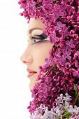 pic of beautiful face  - woman beautiful face with flower lilac frame - JPG