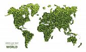 World Map Made Up Of Green Leaf On White Background Vector  Illustration Of A Forest Is Conceptual O poster