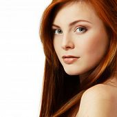 picture of red hair  - teenager girl beautiful red hair cheerful enjoying isolated - JPG
