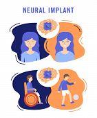 Neural Implants Flat Vector Illustration Medical Concept poster