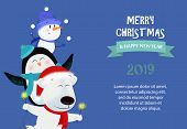 Merry Christmas And Happy New Year Sample Blue Banner Design. Inscription With Polar Bear, Penguin,  poster