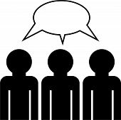 picture of faceless  - group icon of faceless people having a discussion - JPG