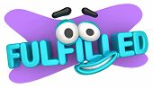 Fulfilled Cartoon Face Smile Happy Satisfied 3d Illustration poster