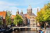 stock photo of sabbatical  - Urban landscape in Amsterdam - JPG