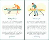 Massage And Body Wrap Spa Procedures Made By Masseur. Client Lying On Table And Relaxing Vector Web  poster
