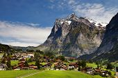 stock photo of ropeway  - Grindelwald Village in Berner Oberland - JPG