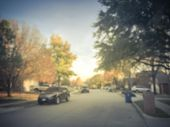 Filtered Image Blurry Background Residential Neighborhood In Autumn Season Near Dallas poster