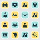 Teamwork Icons Set With Upward Leveling, Teamwork, Creative Person And Other Magnifier Elements. Iso poster