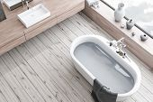 Top View Of Wooden Floor Bathroom, Tub And Sink poster