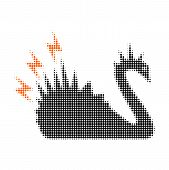 Black Danger Swan Halftone Dotted Icon. Halftone Array Contains Circle Points. Vector Illustration O poster