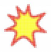Exploding Boom Halftone Dotted Icon. Halftone Pattern Contains Circle Dots. Vector Illustration Of E poster