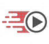 Move Right Halftone Dotted Icon With Fast Speed Effect. Vector Illustration Of Move Right Designed F poster