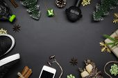 Fitness And Healthy Christmas Sport Composition. Overhead Shot Of Sport Shoes, Dumbbells, Skipping R poster