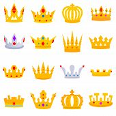 Crown With Stones. Crown Icons Set Of Different Shapes. Flat Design. Collection Of The Iron Crown Of poster