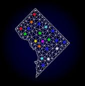 Glossy Polygonal Mesh Map Of District Columbia With Glare Effect. Vector Carcass Map Of District Col poster
