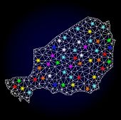 Glossy Polygonal Mesh Map Of Niger With Glare Effect. Vector Carcass Map Of Niger With Glowing Multi poster