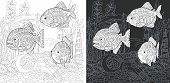 Coloring Page. Coloring Book. Colouring Picture With Piranha Fish Drawn In Zentangle Style. Antistre poster
