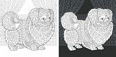 Coloring Page. Coloring Book. Colouring Picture With Pekingese Or Japanese Chin Dog Drawn In Zentang poster
