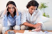 stock photo of young adult  - Young couple just found out they are broke - JPG