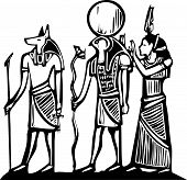 stock photo of anubis  - Anubis and Horus Egyptian hieroglyph in woodcut style - JPG